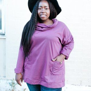 Doublju Plum Cowl Neck Sweater w/ Front Pockets